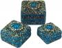 Schmuckdöschen, Schmuckschachtel 3er Set in 5 Farben (Farbe - blau)