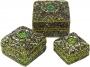 Schmuckdöschen, Schmuckschachtel 3er Set in 5 Farben (Farbe - grün)