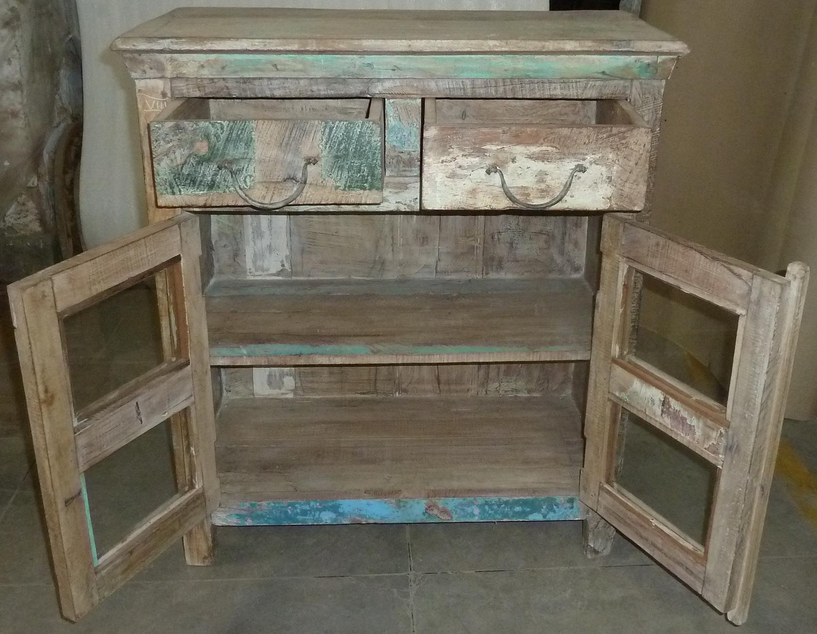 kommode sideboard mit glast ren vintage design. Black Bedroom Furniture Sets. Home Design Ideas