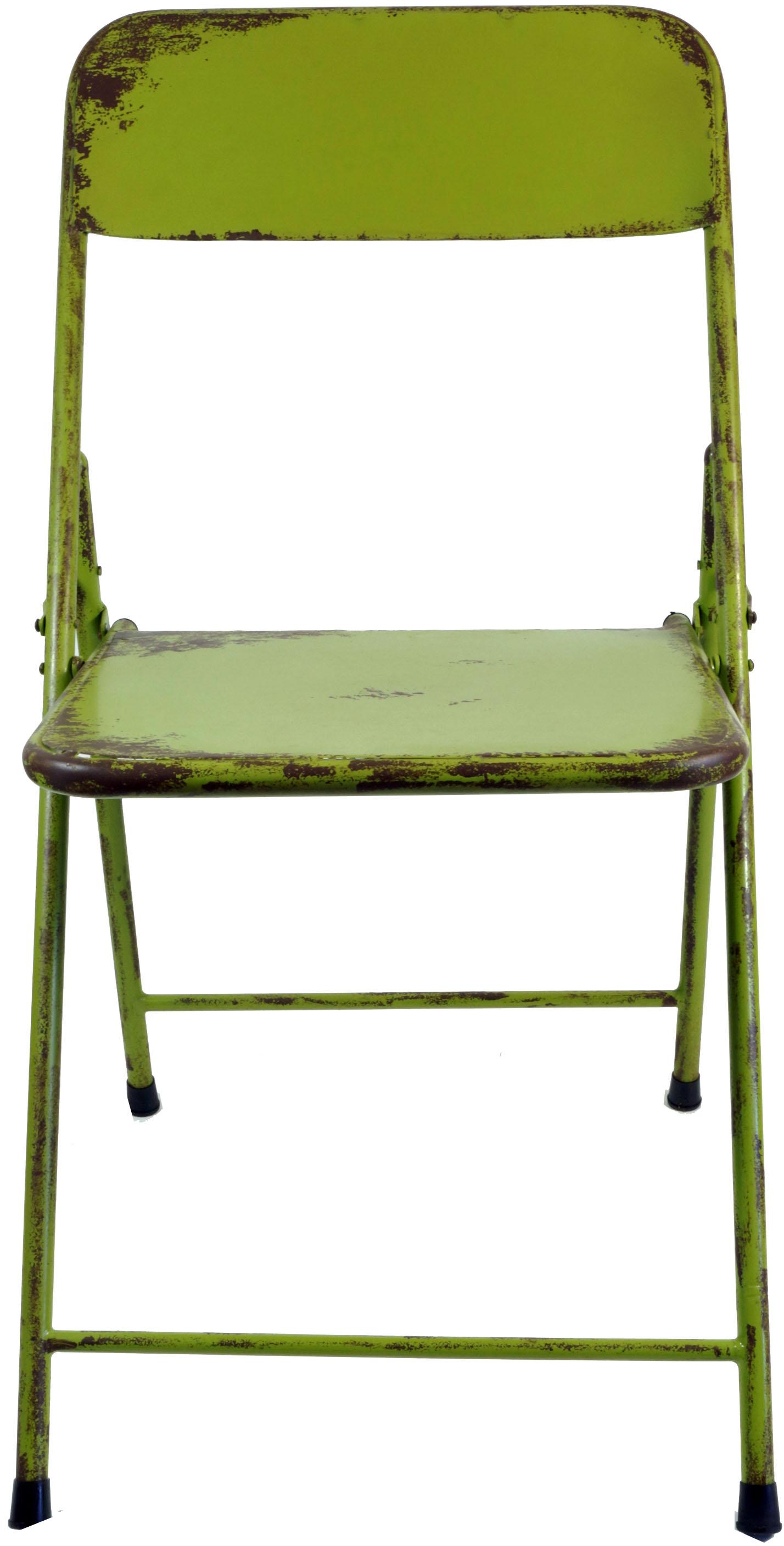 klappstuhl aus metallrohr im industrial vintage design gr n 80x42x50 cm. Black Bedroom Furniture Sets. Home Design Ideas