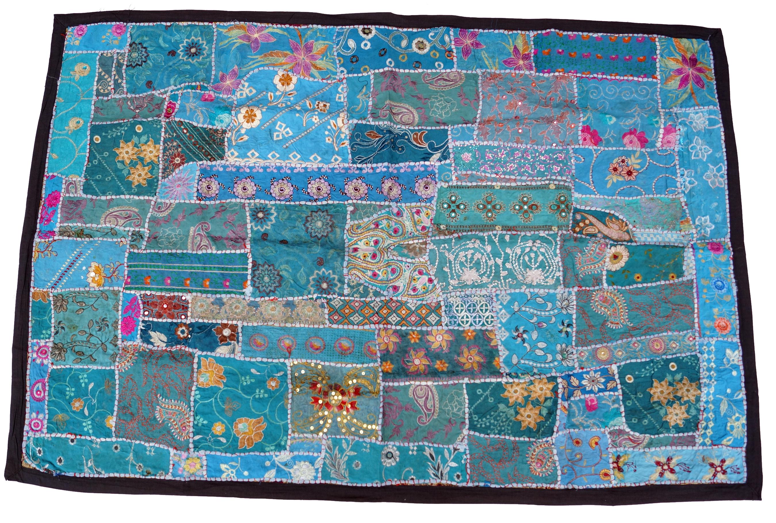 indischer wandteppich patchwork wandbehang 2 2 110 155 0 5 cm ebay. Black Bedroom Furniture Sets. Home Design Ideas