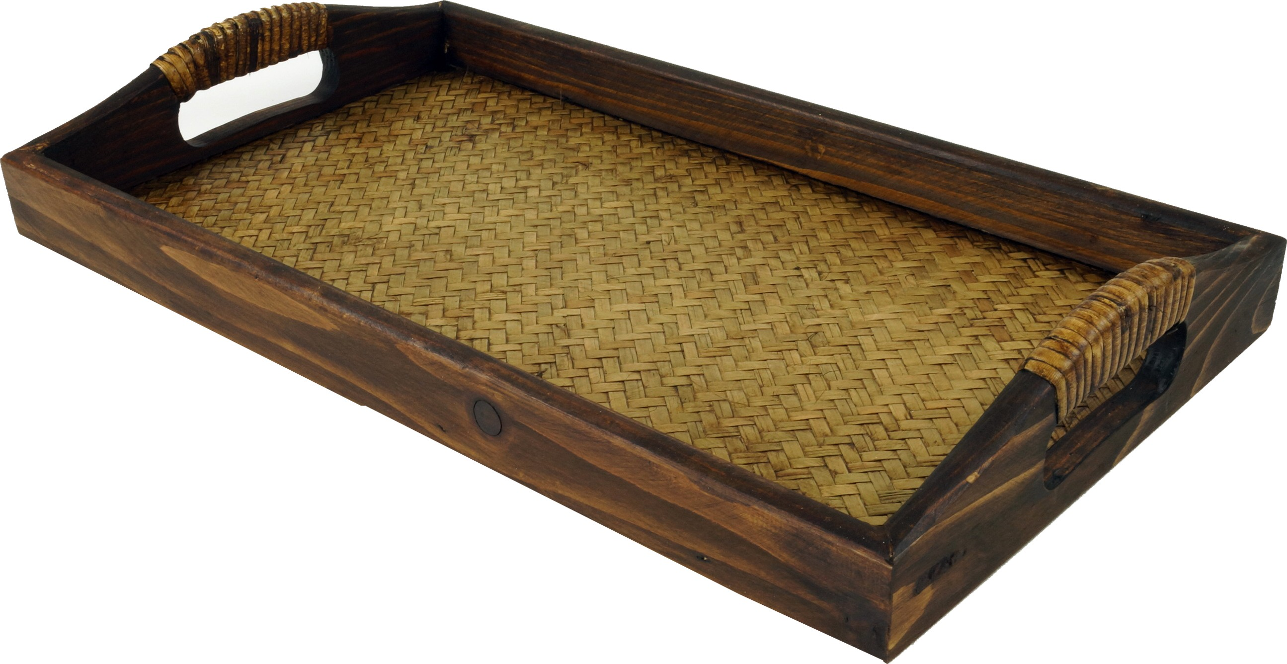 Tablett Holz Rattan Fruhstuckstablett Serviertablett Mit