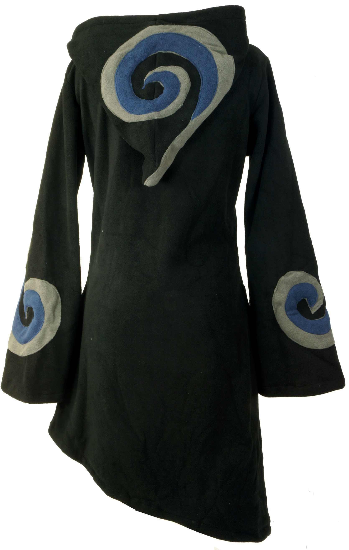goa fleece mantel mit zipfelkapuze schwarz grau. Black Bedroom Furniture Sets. Home Design Ideas