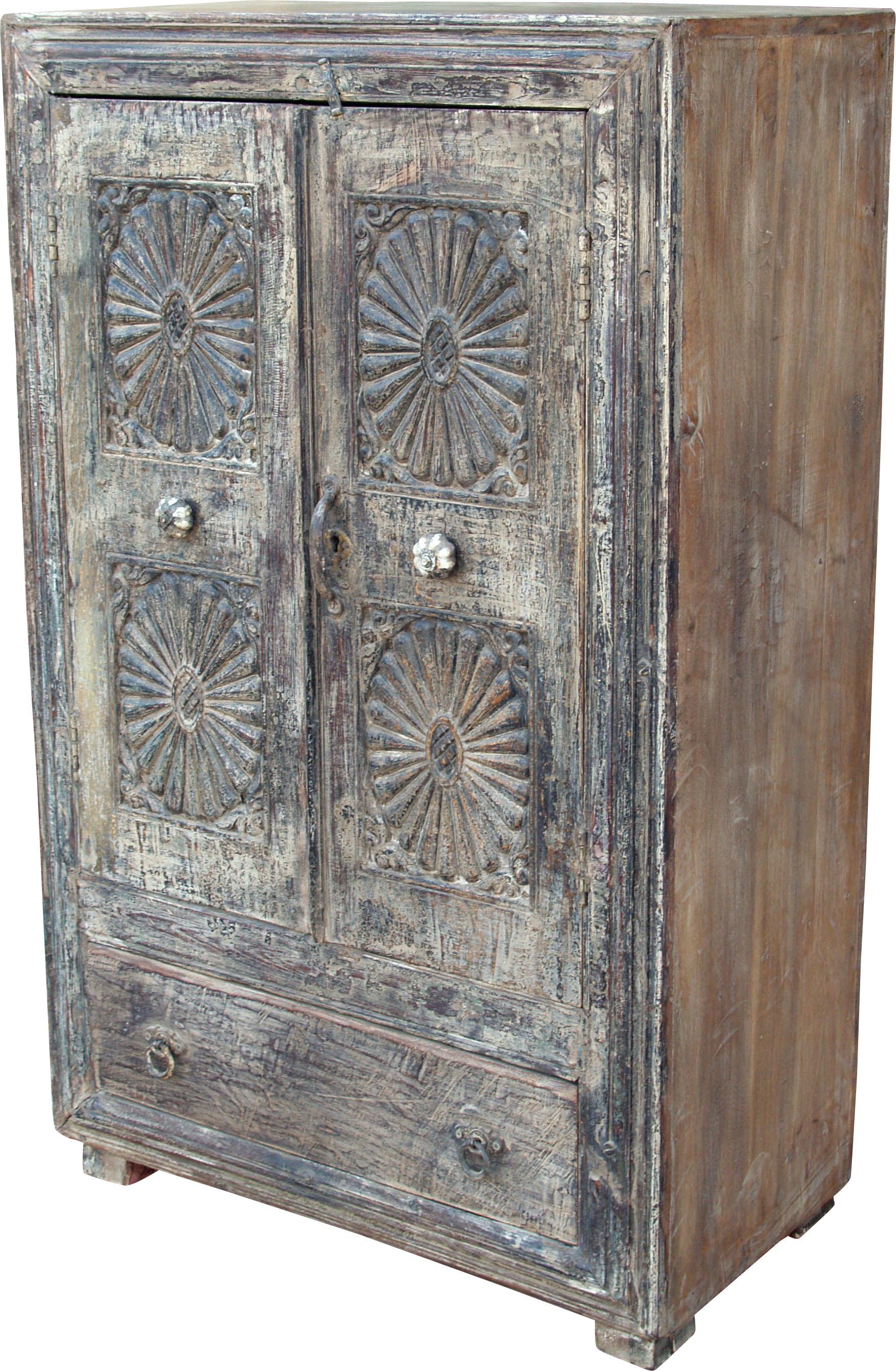 indien antik massiver schrank mit verzierungen jh1 38. Black Bedroom Furniture Sets. Home Design Ideas
