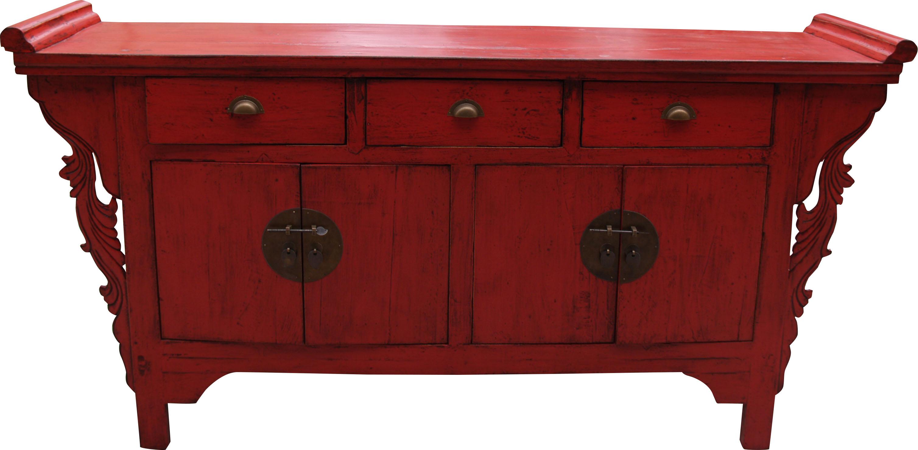 gro e farbige kommode im kolonialstil bf 20609. Black Bedroom Furniture Sets. Home Design Ideas