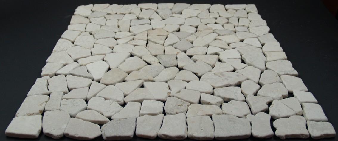 Grosse Mosaikfliese Aus Weissem Marmor Gm 01