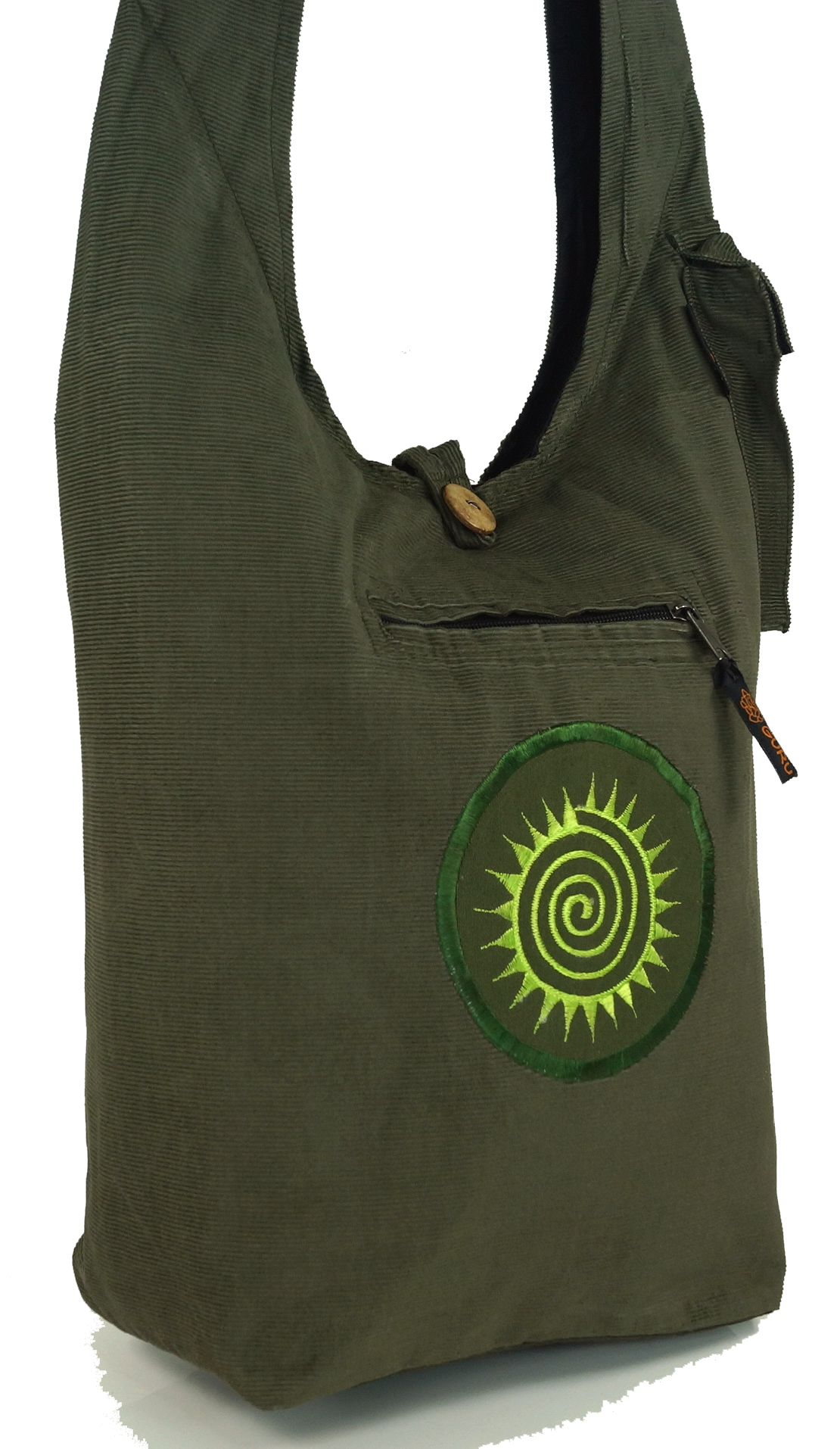 Cord Sadhu Bag / Schultertasche Spirale, Hippie Tasche, Goa Schulterbeutel - ol