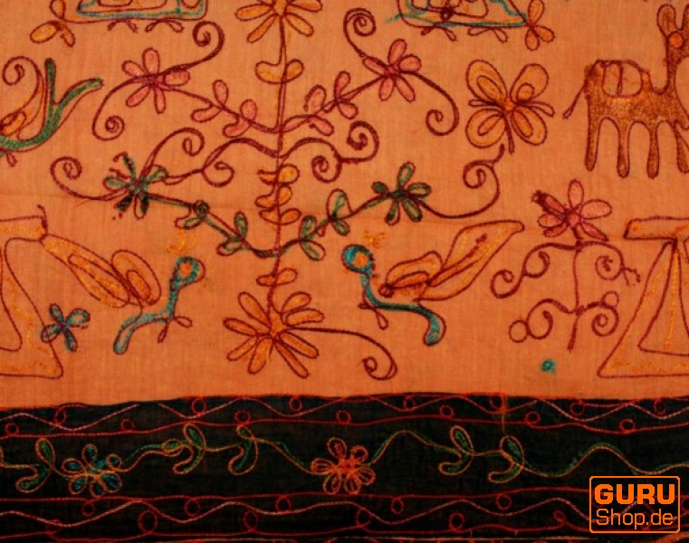 bestickte tagesdecke bett berwurf orange 225 210 cm ebay. Black Bedroom Furniture Sets. Home Design Ideas