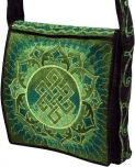 Embroidered motive bag `Mandala-green`