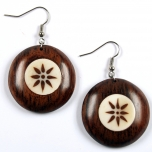 Wooden earring with horn-inlaid work