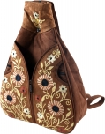 Leather shoulder bag made in kashmir - brown
