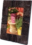 Picture frame with lava stone decoration
