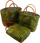 Rattan bag in three sizes green