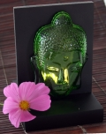 Buddha head lighting glass green