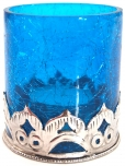 Oriental tealight glass with metal holder
