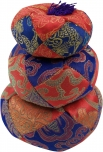 Singing bowls cushion red-blue
