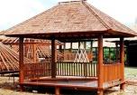 Rechteckiger Kokosholz Gartenpavillon mit Geländer + Treppe