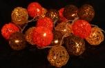 Rattan-ball led light chain orange-brown