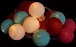 Cloth ball led light chain turquoise-white-red