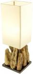 Tischleuchte Kinshasa,  handgemacht aus Naturmaterial, Fuß aus Treibholzstücken, Lampenschirm aus Baumwolle