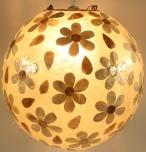 Deckenlampe / Deckenleuchte Mila, handgemacht in Bali, Fiberglas mit Capiz muster