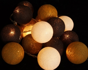 Stoff Ball Lichterkette LED Kugel Lampion Lichterkette-schokobrau..