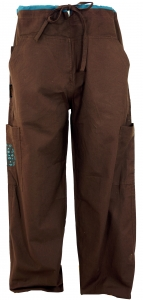 Yogahose, Goa Hose mit Stickerei - coffee