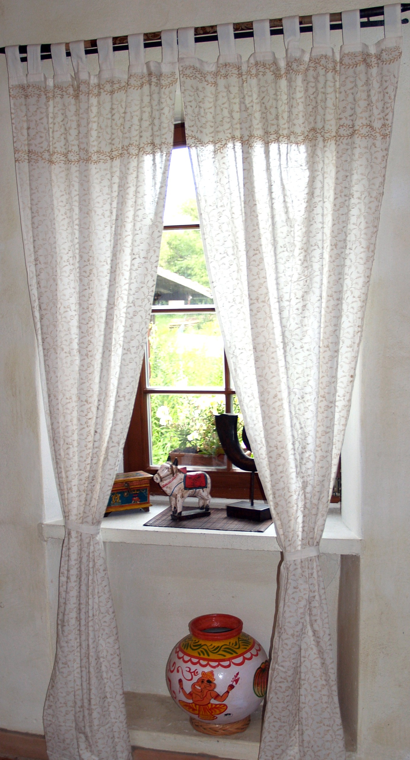 Orientalische Vorhang, Gardine (1 Paar Vorhänge, Gardinen), Golddruck - 100 cm