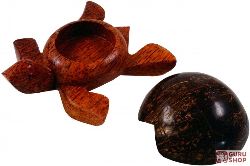 Guru Shop De wooden ashtray with lid in turtle shape 8x20x17 cm