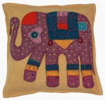 Indian cushion cover, ethno patchwork cushion cover - elephant