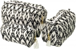 Makeup bagmade ofhand printed cloth - white/black